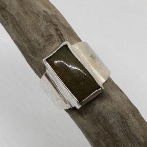 Sterlingsilverring med gedigen silverinfattad rektangulär jaspis sten